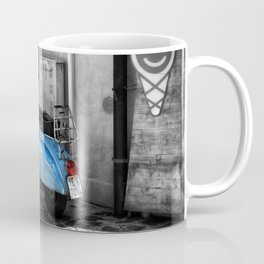 Blue Vespa in Venice Black and White Color Splash Photography Coffee Mug