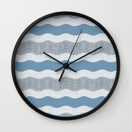 Wavy River in Blue and Gray 1 Wall Clock