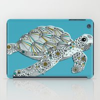 sea turtle iPad Cases featuring Sea Turtle by Rachel Russell