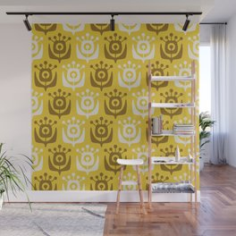 Mid Century Modern Retro Flower Pattern Yellow and Ochre 931 Wall Mural