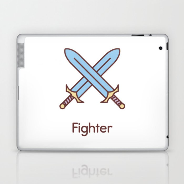 Cute Dungeons and Dragons Fighter class Laptop & iPad Skin