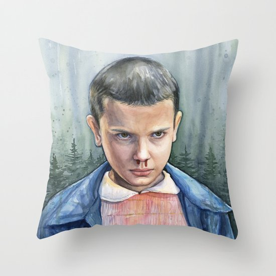 Stranger Things Eleven Watercolor Portrait Art Throw Pillow