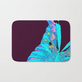 Turquoise Butterfly On A Dark Background #decor #buyart #society6 Bath Mat