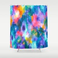 inception Shower Curtains featuring Paradise (Blue) by Jacqueline Maldonado