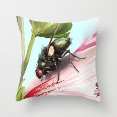 Fly on a flower 15 Throw Pillow