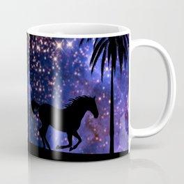 Galloping horses under starry sky Coffee Mug