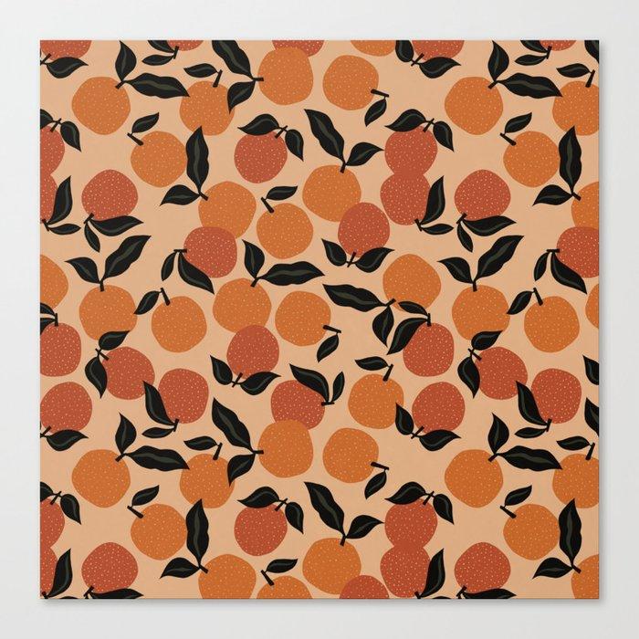 Seamless Citrus Pattern / Oranges Canvas Print
