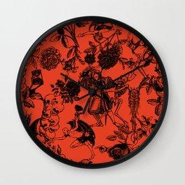 Demons N' Roses Toile in Halloween Orange + Black Wall Clock