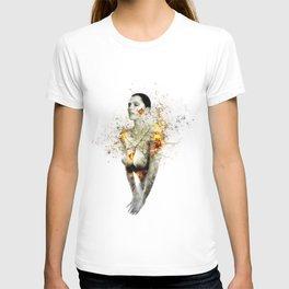 exploding her T-shirt