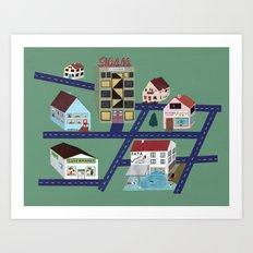 Little Town Pattern Art Print