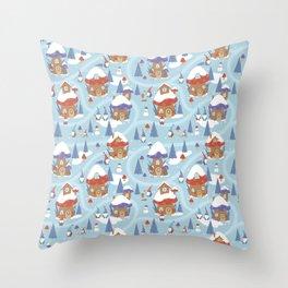 Gnomes Winter Village Throw Pillow