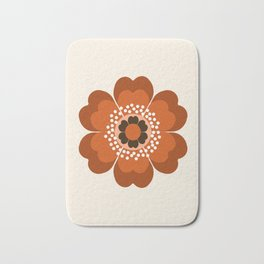 Coolie - retro flower 70s vibes minimalist floral 1970's colorful decor Bath Mat
