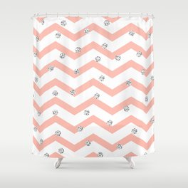 Geometrical coral white silver glitter polka dots Shower Curtain