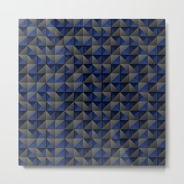 Tech Mosaic Blue Metal Print