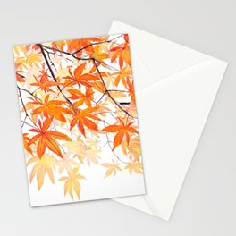 orange maple leaves watercolor Stationery Cards