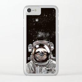 Astronaut Sloth Selfie Clear iPhone Case