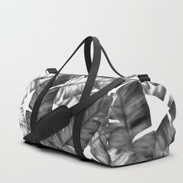 Black And White Tropical Banana Leaves Pattern Duffle Bag