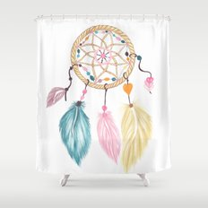 Bright watercolor boho dreamcatcher feathers Shower Curtain