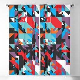 Colorful Texture Purple, Turquoise, Orange, White, Red and Black Blackout Curtain