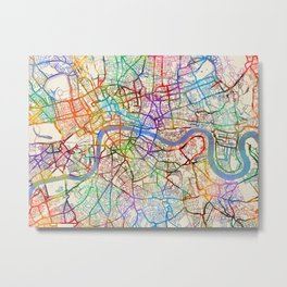 London England City Street Map Metal Print