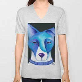 Blue Dog original artwork by Deb Harvey Unisex V-Neck