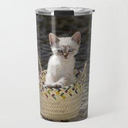 kitten in a rustic basket, Portugal Travel Mug