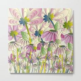 Daisy Floral Pattern 1 Metal Print