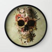 garden Wall Clocks featuring Garden Skull Light by Ali GULEC