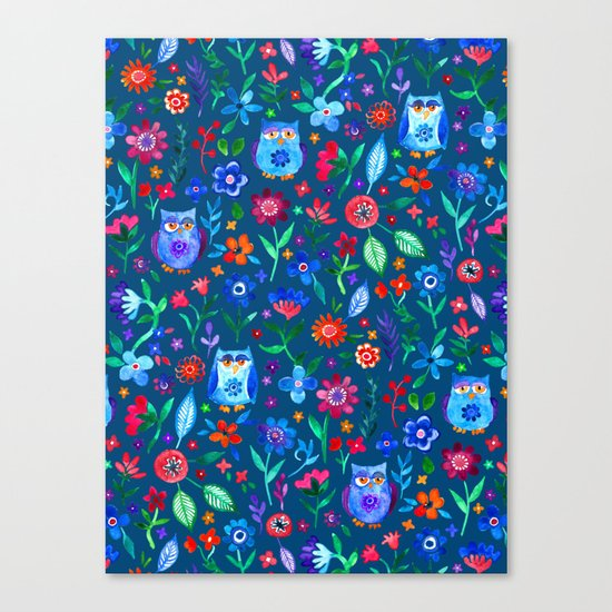 Little Owls and Flowers on deep teal blue Canvas Print