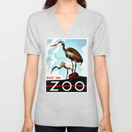 Visit the Zoo, herons Unisex V-Neck
