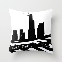 City Scape in Black and White Throw Pillow
