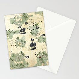 Hand Drawn Pirate Map Stationery Cards