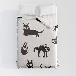Black cat moods Duvet Cover