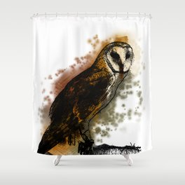 the owl looked up to the stars above Shower Curtain