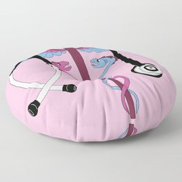 medical caduceus and stethoscope, pink Floor Pillow