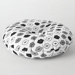 Chessboard Lips - Black and White Floor Pillow