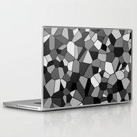 gray pattern Laptop & iPad Skins featuring Gray Monochrome Mosaic Pattern by Margit Brack