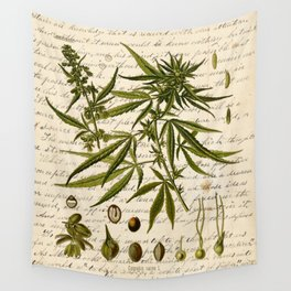 Marijuana Cannabis Botanical on Antique Journal Page Wall Tapestry