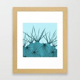 Teal Cactus Close-up Design Framed Art Print