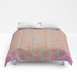 Hexagonal Dreams - Pink/Peach Gradient Comforters