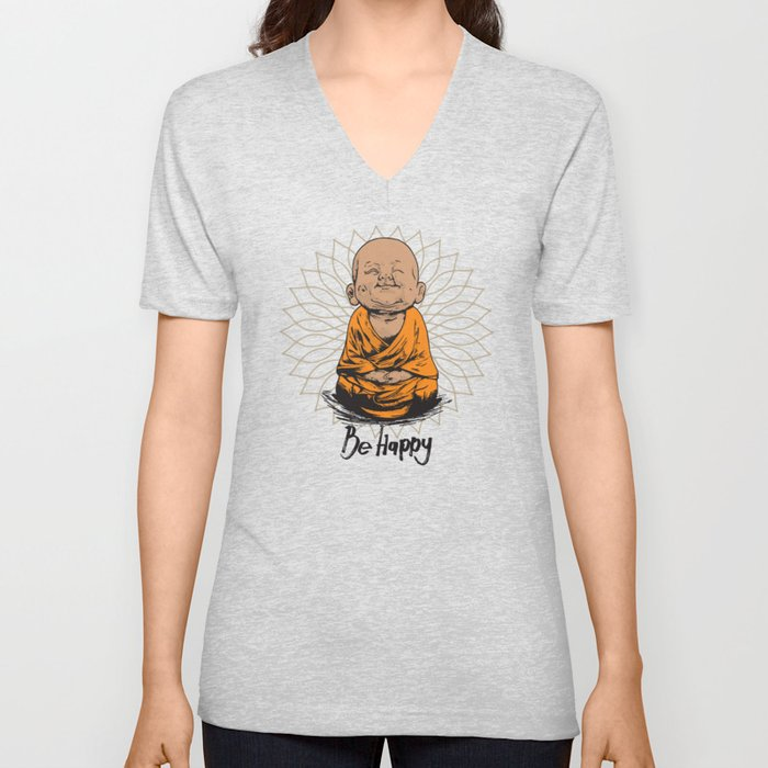 Be Happy Little Buddha Unisex V-Neck