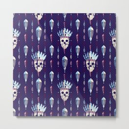 Skull with indian feathers hat pattern. Metal Print
