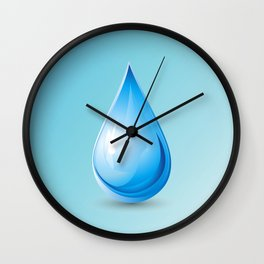 Drop on blue background, world water day Wall Clock