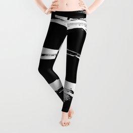 Stripes Black & White Minimalist Abstract Mid century Ink Art Dark Brush Strokes Leggings