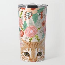 Orange Tabby floral cat head cute pet portrait gifts for orange tabby cat must haves Travel Mug