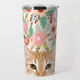 Orange Tabby floral cat head cute pet portrait gifts for orange tabby cat must haves Travel Mug