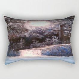 Blues In Nature Waterfall Spray Painting Rectangular Pillow