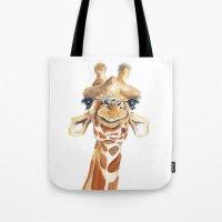 giraffe Tote Bags featuring Giraffe  by Tussock Studio