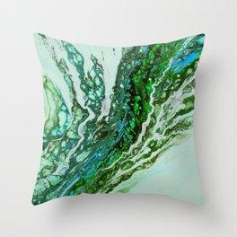 Green blue rivers Throw Pillow