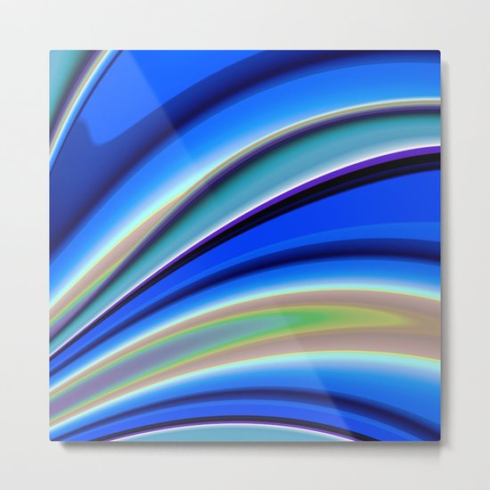 Abstract Fractal Colorways 01BL Metal Print